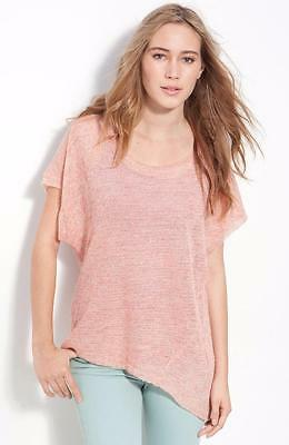 FREE PEOPLE~CORAL *ANGLED HEM* LIGHTWEIGHT LINEN SWEATER TUNIC TOP~L (RARE)