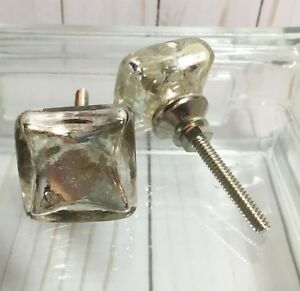 Details About 1 Antique Silver Mercury Flat Square Glass Furniture Cabinet  Knob Drawer Pull