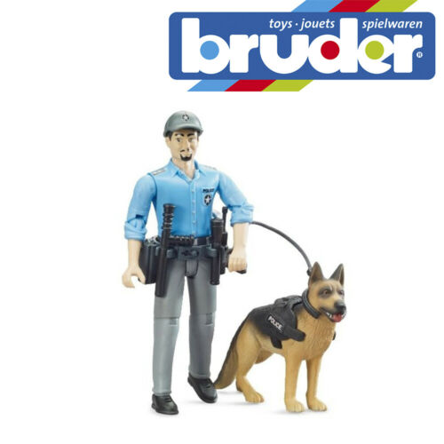 Bruder Bworld Policeman With Dog Emergency Services Childrens Toy Scale 1:16