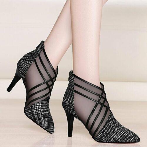 Details about  /Zapatos De Mujer Tacon Alto ParaModa De Malla Y Encaje De Rayas Womens Shoes