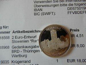 Bien Informé Allemande Argent Médaille-thürungen - 1838 - 150 Ans De Reconstruction Des Wartburg-afficher Le Titre D'origine