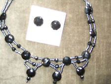 STUNNING NEW BLACK ONYX NECKLACE AND STUD EARRINGS PAN PACIFIC (CANADA)