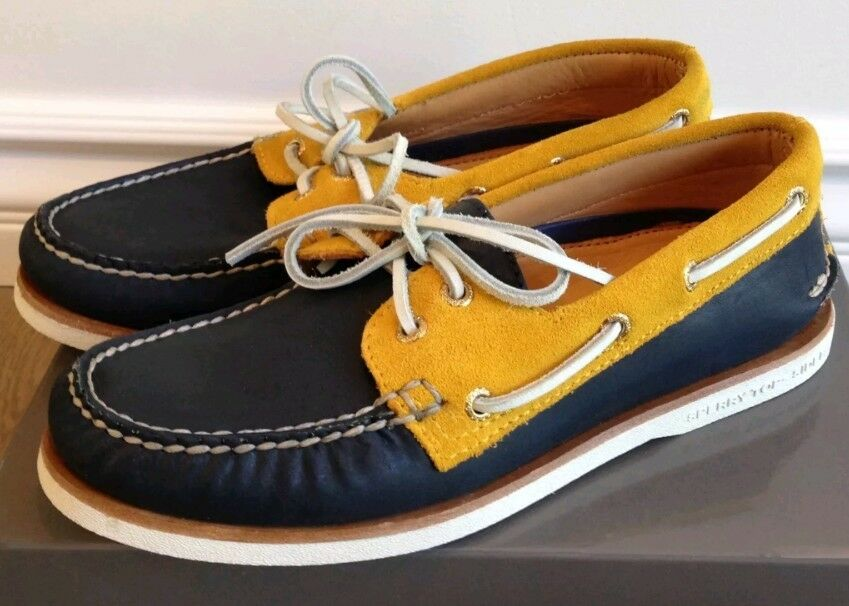 New SPERRY STS15793 gold Cup A O 2-Eye Boat shoes Men's Leather Navy gold 9 M