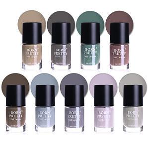 9ml-Gray-Colors-Matte-Nagellack-Manikuere-Nail-Art-Polish-Varnish-Born-Pretty