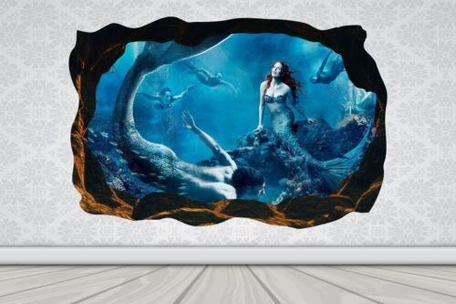 Cave Effect Crack Mermaid Fish Water Wall Sticker Poster Vinyl GA33-338