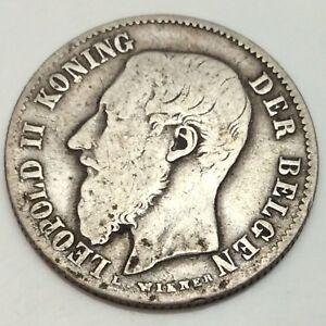 1886-Belgium-Albert-Koning-50-Fifty-Cents-Centimes-Belgen-Circulated-Coin-D972