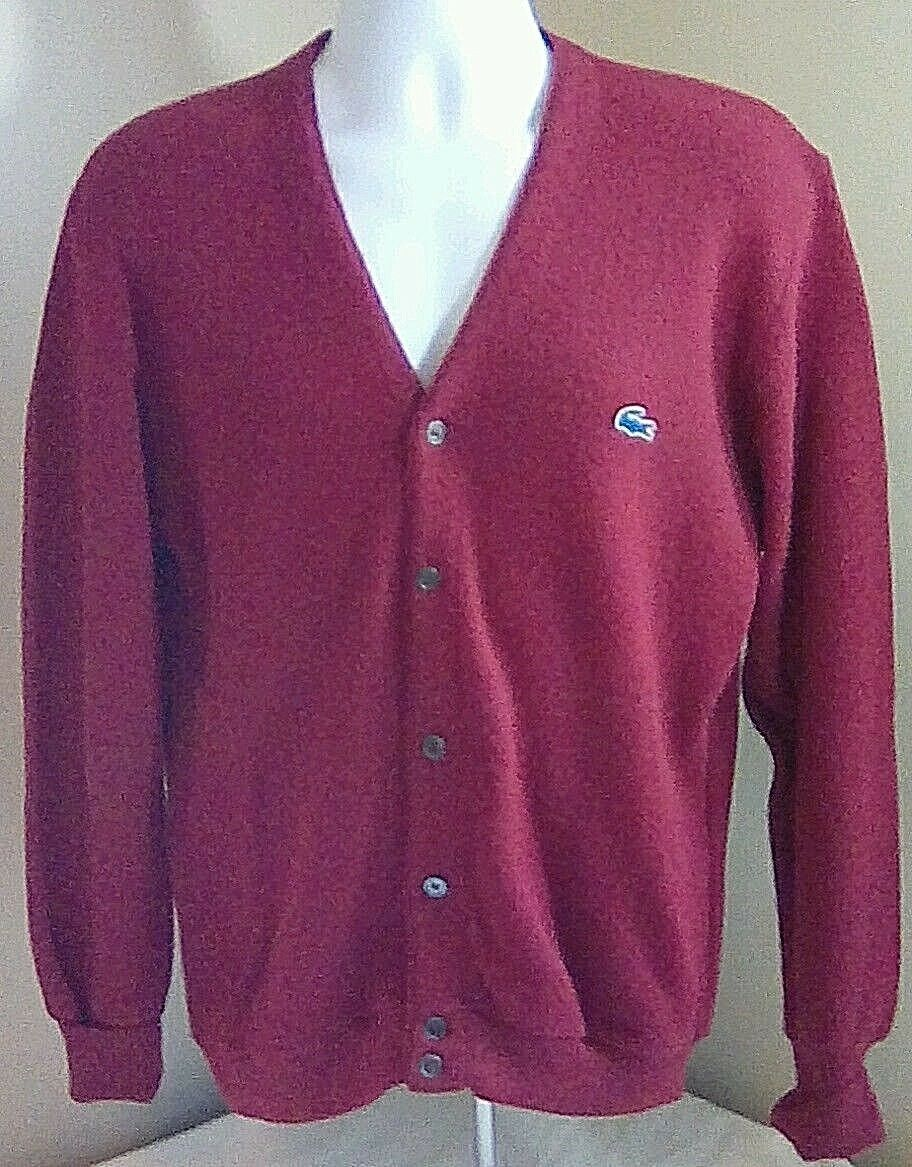 1e73829fe Vintage Izod Lacoste Cardigan Sweater Large Orlon Acrylic Red Maroon Free  Ship