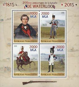 Petite Bataille De Waterloo Anniversaire Guerre Sov. Feuille De 4 Timbres Neuf Sans Charnière-afficher Le Titre D'origine