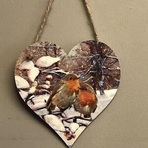 Robins-Handmade-Decoupaged-large-wooden-hanging-heart-Christmas-decoration-12cm