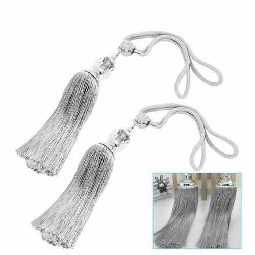 2Pcs Large Curtain Tie Backs Rope Holdbacks Tassel TieBacks Crystal Beaded Ball