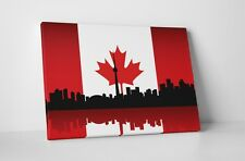 """Vintage Flag of Canada Over Toronto Skyline Gallery Wrapped Canvas 20""""x16"""""""