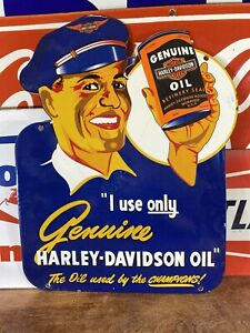 VINTAGE-034-HARLEY-DAVIDSON-034-GAS-amp-OIL-DEALER-PLATE-HEAVY-PORCELAIN-SIGN-13X18-IN