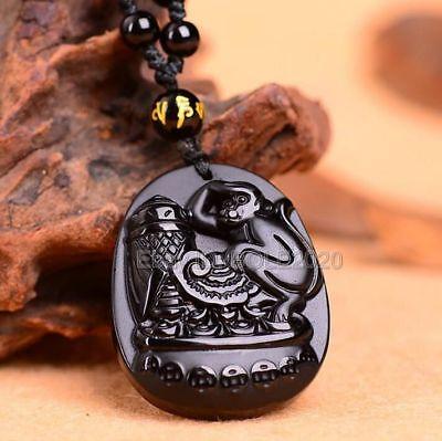 Natural Black Obsidian Carved Zodiac Amulet Monkey Cicada Pendant Necklace