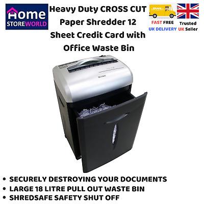 Heavy Duty CROSS CUT Paper Shredder 12 Sheet Credit Card with Office Waste Bin