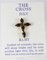 6030257 July Ruby Cz Birthstone Cross Lapel Pin Christian Tie Tack Brooch on sale