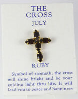 6030257 July Ruby Cz Birthstone Cross Lapel Pin Christian Tie Tack Brooch on sale