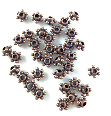 Antique Copper Plated Lead Free Alloy 7x5mm Dotted Ring Spacer Beads Q140