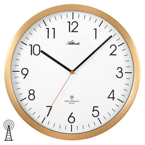Atlanta 4382//9 Horloge Radio Funkwanduhr analogique Golden environ Silencieux sans faire TIC-TAC.