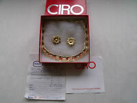 CIRO GOLD PLATED NECKLACE & CLIP EARRINGS GIFT SET- C1990'S BOX BILLS & PAPERS