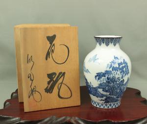 九谷焼 KUTANI ware LANDSCAPE SANSUI design FLOWER VASE 明陶 MEITO Original Box V318