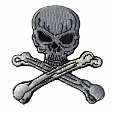 Embroidered Skull and Cross Bones Iron on Sew on Patch Badge