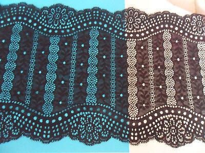 DunkelBlau elastisch 17,5cm elegante Spitze breit Borte tolle angebot selten