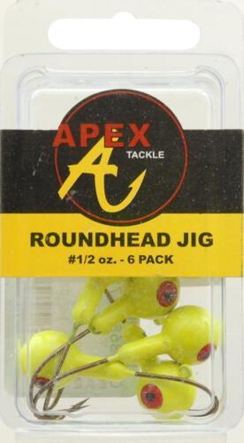 6 X TESTE PIOMBATE APEX 14 GRAMMI TESTINE JIGHEAD 1//2 GIALLE