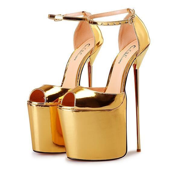 Para mujer Súper Tacones Altos BOMBAS BOMBAS BOMBAS Zapatos De Plataforma Stiletto Hebilla Correa Vestido Sandalias  precio razonable