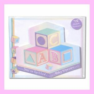 Baby Shower Invitations ABC Block Theme Set of 12 with Envelopes