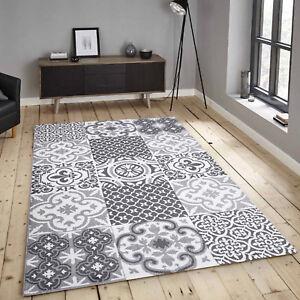 Tapis-en-Micro-Polyester-Poil-Ras-Vintage-Patchwork-Gris-Moderne-Salon
