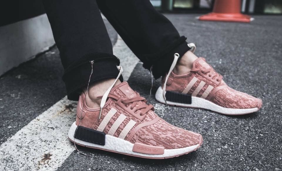 Auth Adidas NMD R1 Raw Pink Glitch Sneakers shoes US 8