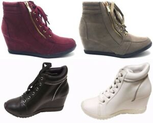Women-039-s-New-Hidden-Wedge-Lace-Up-Side-Zip-Accent-Sneakers-Boots-Shoes-Sz-5-10