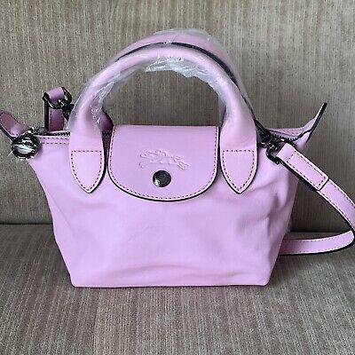 SALE!Longchamp BABY PINK MINI Le Pliage Cuir Lambskin Top Handle Crossbody  Bag   eBay