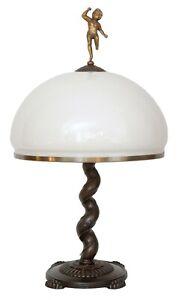 Prachtvolle-original-Jugendstil-Tischlampe-Putto-Engel-um-1920-Lampe
