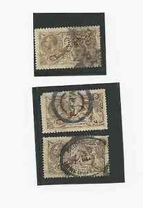 3-UK-GREAT-BRITAIN-STAMPS-1913-SC-173-USED-PERFIN-J-amp-S-REGISTERED-VPP-CANCEL