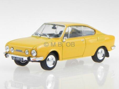 Skoda 110R  Coupe gelb Ostalgie Modellauto in Vitrine 1:43