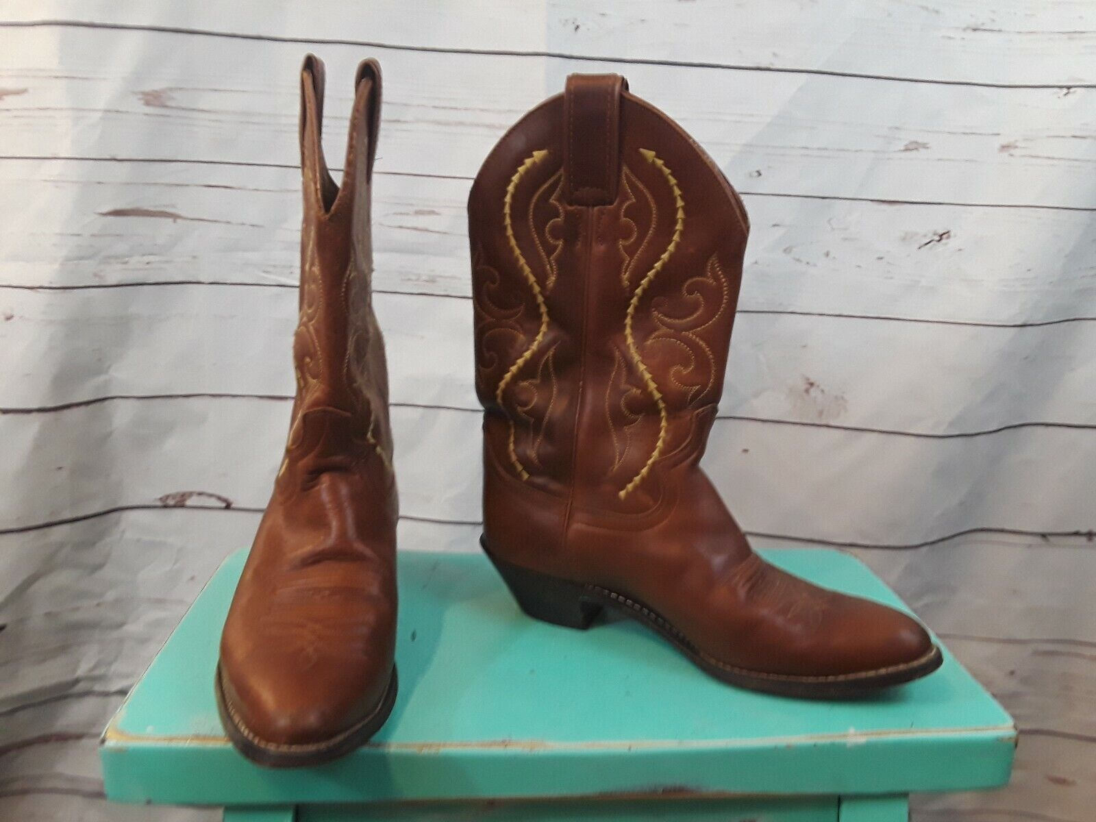 Justin Brown Leather Cowboy Boots Womens Size 7 B Style L4936