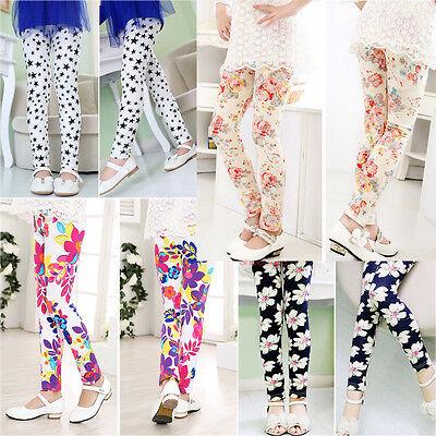 Spring Kids Children Girls Infant Baby Printed Leggings Trousers Pants Age 2-13Y