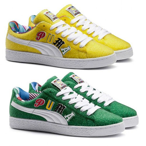 Puma Basket x Dee & Ricky Whimsical World Unisex Trainers Yellow Green 360084