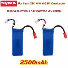 2pcs 7.4V 2500mAh Li-po Batterie de Secours Pour RC Syma X8C X8W X8G Hélicoptère