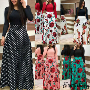 Plus-Size-Ladies-Long-Sleeve-Floral-Boho-Women-Party-Bodycon-Maxi-Dress-Clothing