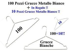 100+10 Grucce Appendiabiti Metallo Bianco Lavanderia Stireria Negozio Raimbow