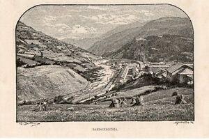 Stampa Antica Bardonecchia Veduta Panoramica Torino 1892 Old Print Cool En éTé Et Chaud En Hiver