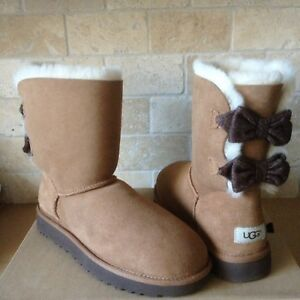 cae05c53130 Details about UGG BRIGETTE BAILEY BOW CHESTNUT SUEDE WOOL SHORT BOOTS SIZE  US 5 WOMENS NIB