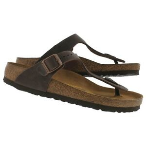 66d15d16a70 Image is loading Birkenstock-Gizeh-Havana-Thong-Sandal-Oiled-Leather-size-