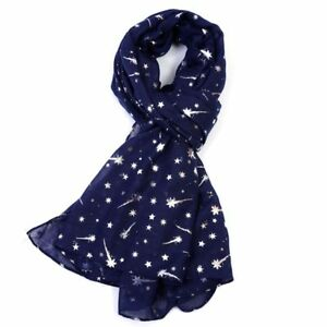Stunning Navy Blue Scarf with all over Silver foil Metallic Stars New star