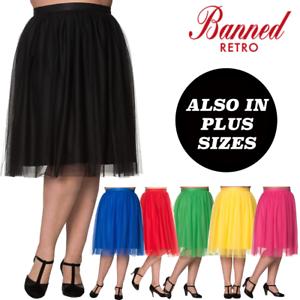 Red Flared Vintage Retro Rockabilly Sue-Ellen Bias Cut Midi Skirt Banned Apparel