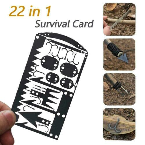 22 In1 Multi Tool Fishing Gear Credit Card Outdoor Survival Camping m0y nyis12