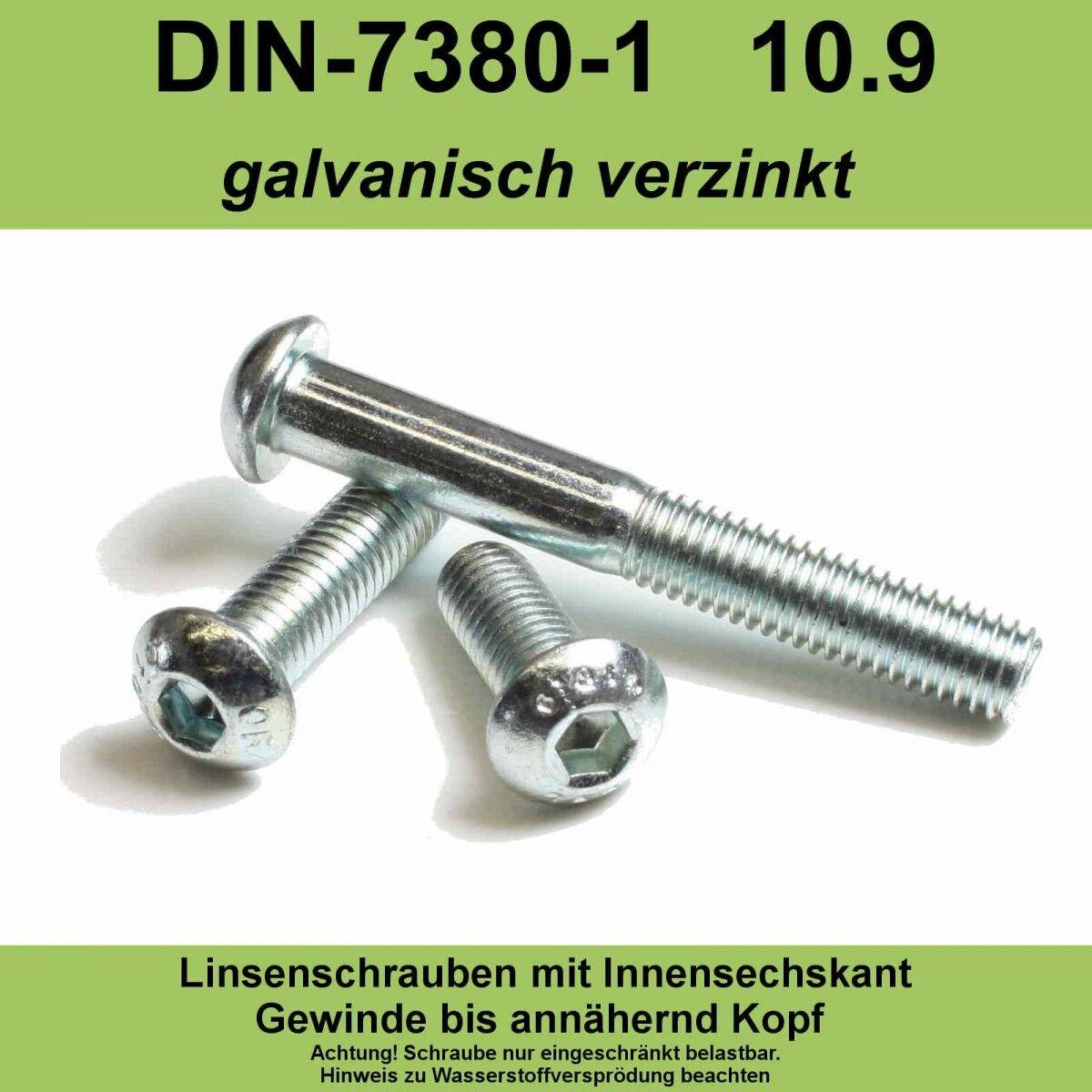 M12 ISO 7380-1 10.9 verzinkte Linsenschrauben Innensechskant Linsenkopf vz M12x