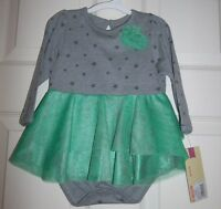 Holiday Star Bodysuit With Green Ruffle By Cherokee -- Sz 9 Months